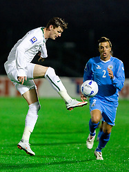 Milivoje Novakovic of Slovenia and Fabio Vitaioli of RSM at the last 2010 FIFA World Cup South Africa Qualifying match in Group 3 between San Marino and Slovenia, on October 14, 2009, in Olimpico Stadium, Serravalle, San Marino. Slovenia won 3:0. (Photo by Vid Ponikvar / Sportida)