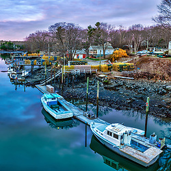 Lobster boats on Sagamore Creek in Portsmouth, New Hampshire. HDR