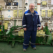 Engineer Vladimir Yudin onboard the 50 Years of Victory
