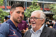 Gerard Beale, The Mad Butcher, Sir Peter Leitch at the Vodafone Warriors Rugby League Season Launch, SkyCity, Auckland, New Zealand, Tuesday, February 27, 2018. Copyright photo: David Rowland / www.photosport.nz