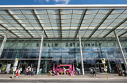 Exterior of Ostbahnhof railway station in Friedrichshain Berlin Germany