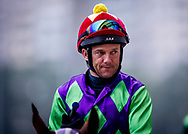 Jockey Brett Prebbles at morning Barrier Trails at Happy Valley Racecourse on January 20, 2018 in Happy Valley Hong Kong. (Photo: Alex Evers)