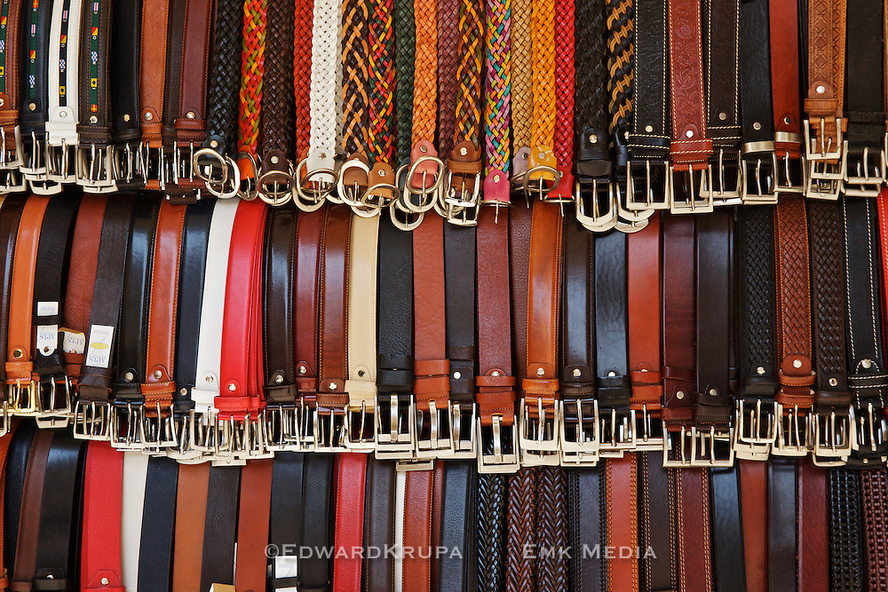 Belts for sale in Florence's leather merket.