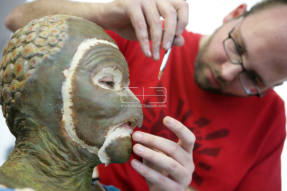 23rd October 2008, Los Angeles, California. Extreme Makeover!  Students at the Cinema Makeup School in Hollywood California, graduate from a special effects make-up course.  In this part of the course, movie industry hopefuls learn to design and create latex masks over a period of four weeks, before demonstrating their competence by transforming models into drag queens, aliens and monsters in only eight hours. Pictured is: Zulma Tercero (23) as a mutant turtle. PHOTO © JOHN CHAPPLE / REBEL IMAGES.john@chapple.biz    www.chapple.biz.(001) 310 570 9100.