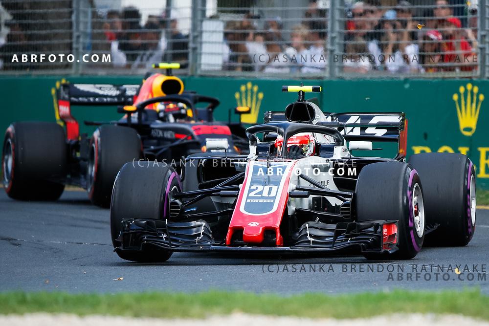 Haas driver Kevin Magnussen of Denmark during the 2018 Rolex Formula 1 Australian Grand Prix at Albert Park, Melbourne, Australia, March 24, 2018.  Asanka Brendon Ratnayake
