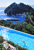 the pool at the Splendid Hotel, Portofino, on the Italian Riviera