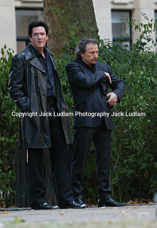 """HARVEY KEITEL AND MICHAEL MADSEN ON SET OF """"RED RIVER RUNS"""" IN HOLBURN CENTRAL LONDON"""