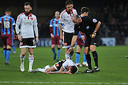 Sheffield United defender, on loan from Birmingham City, David Edgar sustains head injury  during the Sky Bet League 1 match between Scunthorpe United and Sheffield Utd at Glanford Park, Scunthorpe, England on 19 December 2015. Photo by Ian Lyall.