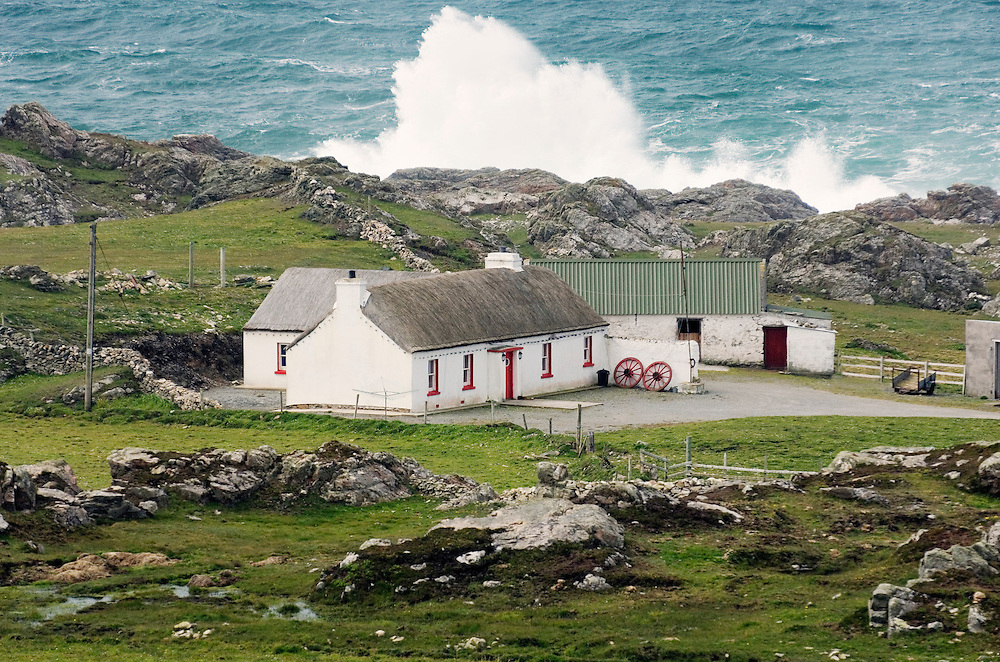 Atlantic storm waves beat the coast near Malin Head on the Inishowen Peninsula, County Donegal. Northernmost tip of Ireland.