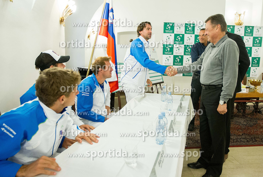 Players of Slovenia and Zoran Jankovic, major of Ljubljana during draw of Davis cup Slovenia vs South Africa competition on September 12, 2013 in City hall, Ljubljana, Slovenia. (Photo by Vid Ponikvar / Sportida.com)