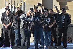 Nov 3, 2015; Kansas City, MO, USA; Kansas City Royals catcher Salvador Perez (13) takes a selfie with center fielder Lorenzo Cain (6) on stage during the celebration at Union Station. Mandatory Credit: Denny Medley-USA TODAY Sports