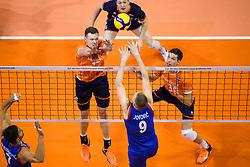 06-01-2020 NED: CEV Tokyo Volleyball European Qualification Men, Berlin<br /> Match Serbia vs. Netherlands 3-0 / Michael Parkinson #17 of Netherlands, Maarten van Garderen #3 of Netherlands