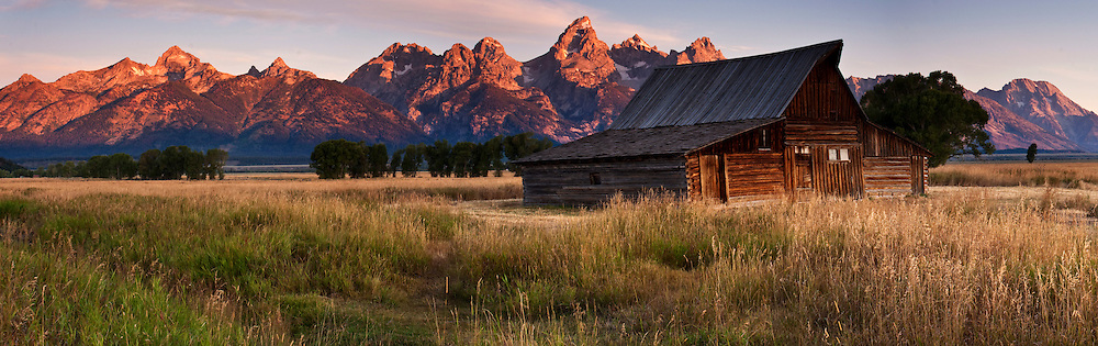 Famous barn near Jackson Hole Wyoming on a fall morning.