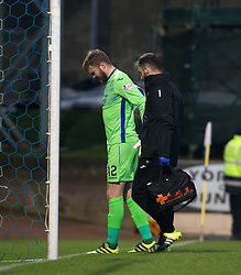 St Johnstone's keeper Zander Clark goes of injured. St Johnstone 2 v 4 Ross County. SPFL Ladbrokes Premiership game played 19/11/2016 at St Johnstone's home ground, McDiarmid Park.