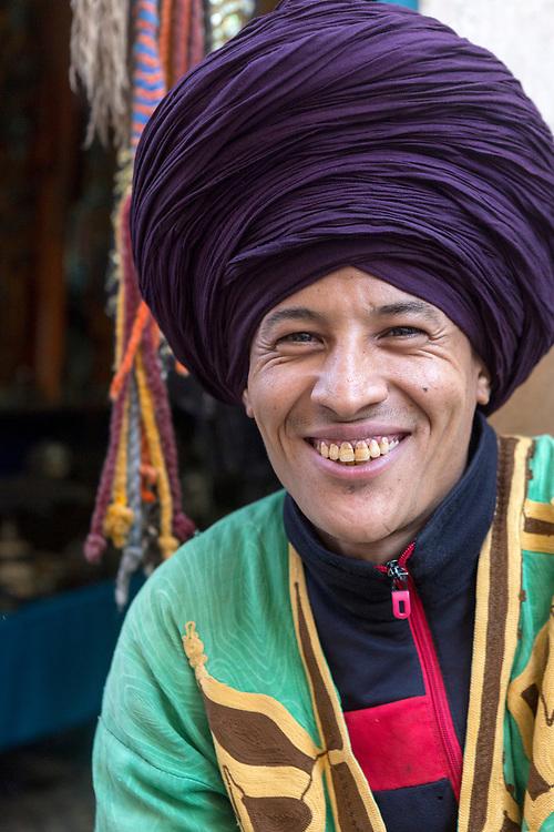 ESSAOUIRA, MOROCCO May 11th 2018 - Portrait of shop keeper in the Essaouira Medina, Southern Morocco