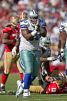 18 September 2011: Defensive end (98) Marcus Spears of the Dallas Cowboys celebrates after a sack against the San Francisco 49ers during the second half of the Cowboys 27-24 overtime victory against the 49ers in an NFL football game at Candlestick Park in San Francisco, CA