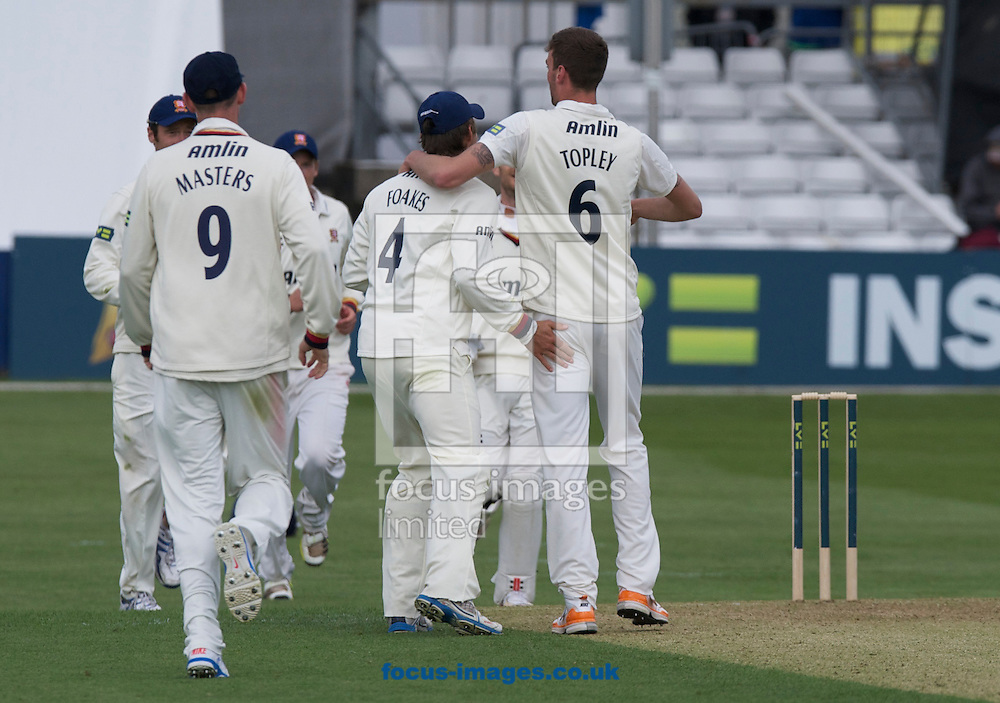 Picture by Alan Stanford/Focus Images Ltd +44 7915 056117.29/04/2013. Essex County Cricket Club players celebrate their 6th wicket during the LV County Championship Div Two match at the County Ground, Chelmsford, Chelmsford..