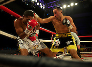 Picture by Alan Stanford/Focus Images Ltd +44 7915 056117<br /> 16/11/2013<br /> James Degale v Dyah Davis ( silver trunks) for the <br /> WBC super-middleweight title at Glow Bluewater, Greenhithe.
