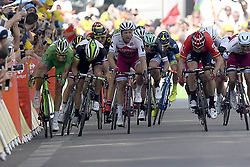 July 6, 2017 - Troyes, France - TROYES, FRANCE - JULY 6 : DEMARE Arnaud (FRA) Rider of FDJ, BOUHANNI Nacer (FRA) Rider of Cofidis, Solutions Credits, GREIPEL Andre (GER) Rider of Team Lotto - Soudal, KRISTOFF Alexander (NOR) Rider of Team Katusha - Alpecin, KITTEL Marcel (GER) Rider of Quick-Step Floors Cycling team during stage 6 of the 104th edition of the 2017 Tour de France cycling race, a stage of 216 kms between Vesoul and Troyes on July 06, 2017 in Troyes, France, 6/07/2017 (Credit Image: © Panoramic via ZUMA Press)