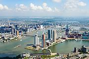 Nederland, Zuid-Holland, Rotterdam, 10-06-2015; in de voorgrond Katendrecht, bijgenaamd De Kaap. Rijnhaven met de Rijnhavenbrug naar de Wilhelminakade. Noordereiland, Erasmusbrug en Nieuwe Maas in het verschiet.<br /> Katendrecht peninsula, former port quarter.<br /> luchtfoto (toeslag op standard tarieven);<br /> aerial photo (additional fee required);<br /> copyright foto/photo Siebe Swart