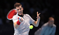 Austria's Dominic Thiem in action in the Men's Singles during day five of the Nitto ATP Finals at The O2 Arena, London.