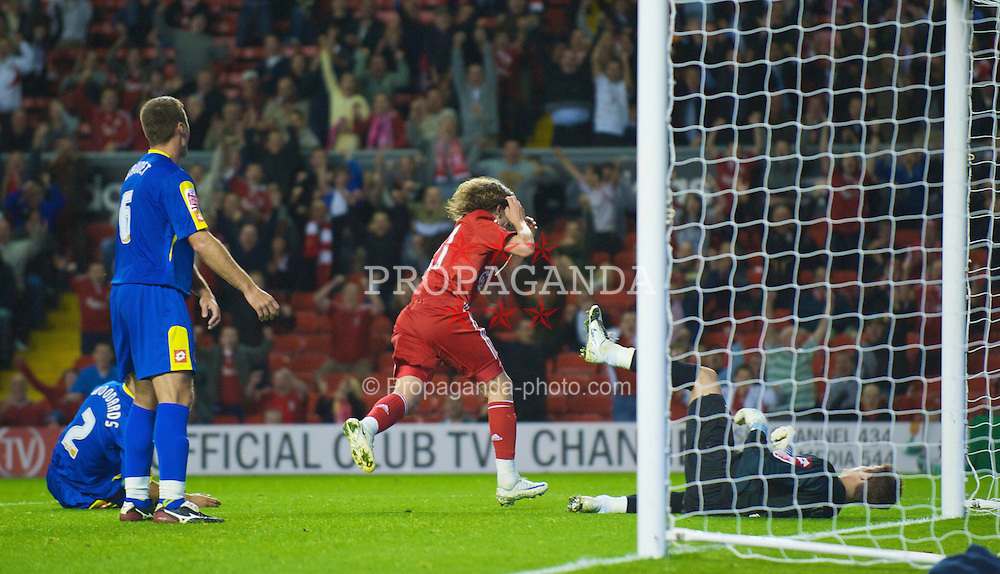 LIVERPOOL, ENGLAND - Tuesday, September 23, 2008: Liverpool's Lucas Leiva celebrates scoring against Crewe Alexandra to make the scores 2-1 during the League Cup 3rd round match at Anfield. (Photo by David Rawcliffe/Propaganda)