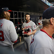 NEW YORK, NEW YORK - July 07: Daniel Murphy #20 of the Washington Nationals in the dugout preparing to bat with team mate Jayson Werth #28 of the Washington Nationals during the Washington Nationals Vs New York Mets regular season MLB game at Citi Field on July 07, 2016 in New York City. (Photo by Tim Clayton/Corbis via Getty Images)