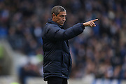 Brighton Manager, Chris Hughton pointing, directing, signalling during the EFL Sky Bet Championship match between Brighton and Hove Albion and Fulham at the American Express Community Stadium, Brighton and Hove, England on 26 November 2016.