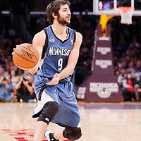 10 November 2013: Minnesota Timberwolves point guard Ricky Rubio (9) passes the ball during the Minnesota Timberwolves 113-90 victory over the Los Angeles Lakers at the Staples Center, Los Angeles, California, USA.