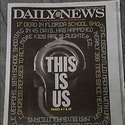 New York Post and Daily News cover headlines about  Florida School  Carnage Shooting with 17 dead<br />