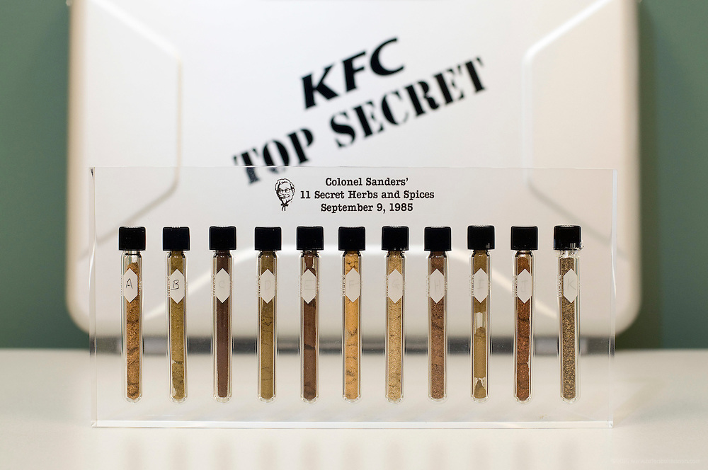 A commemorative representation of the 11 secret herbs and spices Colonel Harland Sanders made famous in his recipe for Kentucky Fried Chicken is shown Monday, Sept. 8, 2008 at KFC Headquarters in Louisville, Ky. (AP Photo/Brian Bohannon).