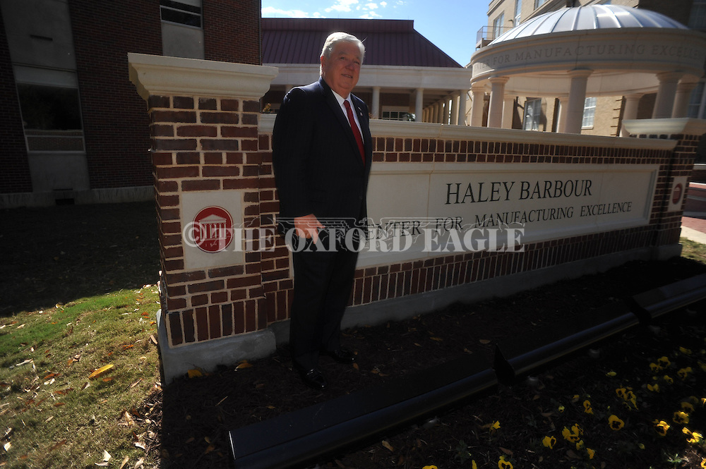 Haley Barbour attends the Haley Barbour Center for Manufacturing Excellence is dedication ceremony at the University of Mississippi in Oxford, Miss. on Thursday, October 18, 2012.