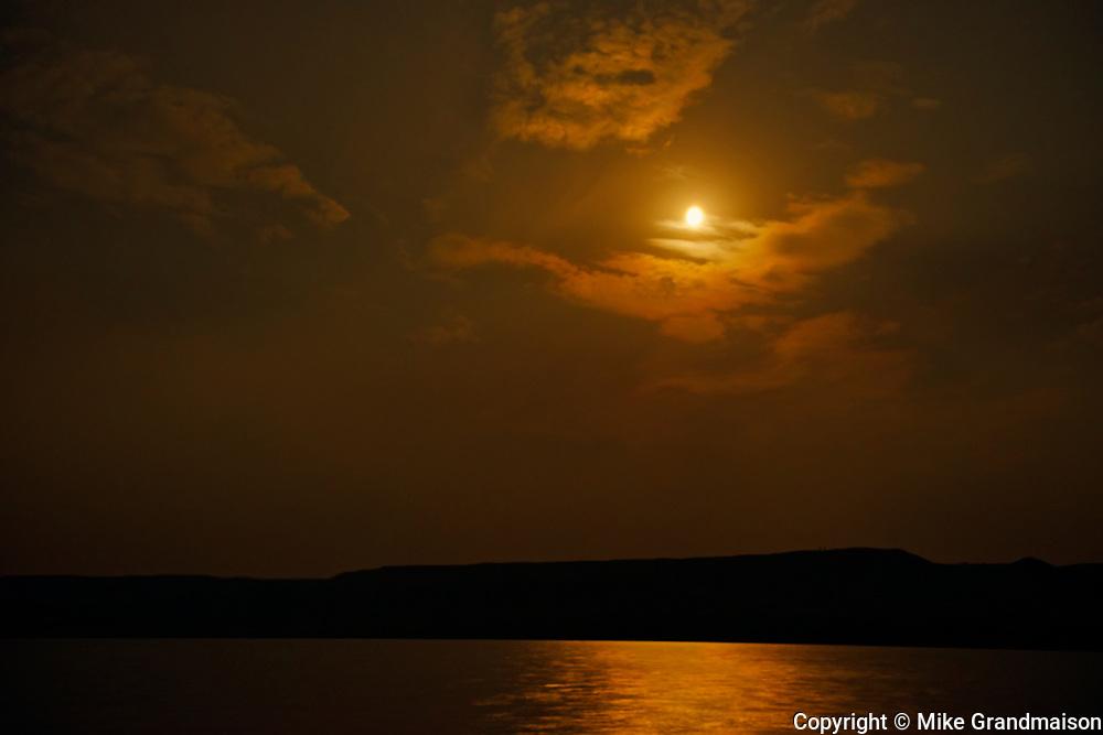 Moonscape of clouds and South Saskatchewan River<br />Saskatchewan Landing Provincial Park<br />Manitoba<br />Canada