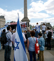 Israelis and Jews celebrate the 65th year of the state of Israel, in London, Trafalgar Square, UK, Sunday June 2, 2013.<br /> <br /> Sunday, 2nd June 2013<br /> Picture by Max Nash / i-Images