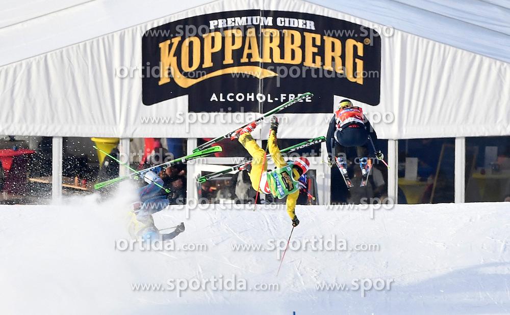12.02.2017, Idre Fj&auml;ll, SWE, FIS Weltcup Ski Cross, Idre Fj&auml;ll, im Bild Viktor Andersson muss um ins Viertelfinale zu kommen, vorbei an Daniel Bohnacker und Semen Denschikov // during the FIS Ski Cross World Cup in Idre Fj&auml;ll, Sweden on 2017/02/12. EXPA Pictures &copy; 2017, PhotoCredit: EXPA/ Nisse Schmidt<br /> <br /> *****ATTENTION - OUT of SWE*****