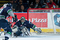 KELOWNA, CANADA - APRIL 30: Carl Stankowski #1 of the Seattle Thunderbirds makes a second period save against the Kelowna Rockets on April 30, 2017 at Prospera Place in Kelowna, British Columbia, Canada.  (Photo by Marissa Baecker/Shoot the Breeze)  *** Local Caption ***