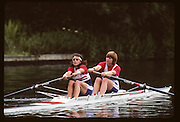 Molesey, Great Britain. GBR W2- Bow Joanne TURVEY and Miriam BATTEN, 1992 British International Rowinig Training on the Henley Reach, Surrey,  [Mandatory Credit. Peter Spurrier/Intersport Images] +1992 +Molesey +Henley 1992 GBRowing Training, Molesey/Henley, United Kingdom
