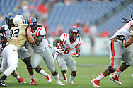 Ole Miss Rebels running back Jaylen Walton (6) follows block of Ole Miss Rebels tight end Nicholas Parker (34) vs. Vanderbilt at L.P. Field in Nashville, Tenn. on Saturday, September 6, 2014. Ole Miss won 41-3.