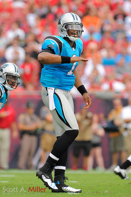 Carolina Panthers quarterback Cam Newton (1) calls a play during the Panthers game against the Tampa Bay Buccaneers  at Raymond James Stadium  on September 9, 2012 in Tampa, Florida.  The Bucs won 16-10..©2012 Scott A. Miller...