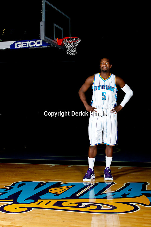 December 14, 2011; New Orleans, LA, USA; New Orleans Hornets guard Justin Dentmon (5) poses for a photo during Media Day at the New Orleans Arena.   Mandatory Credit: Derick E. Hingle-US PRESSWIRE