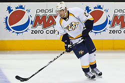 Mar 15, 2012; San Jose, CA, USA; Nashville Predators right wing Patric Hornqvist (27) warms up before the game against the San Jose Sharks at HP Pavilion. San Jose defeated Nashville 2-1 in shootouts. Mandatory Credit: Jason O. Watson-US PRESSWIRE