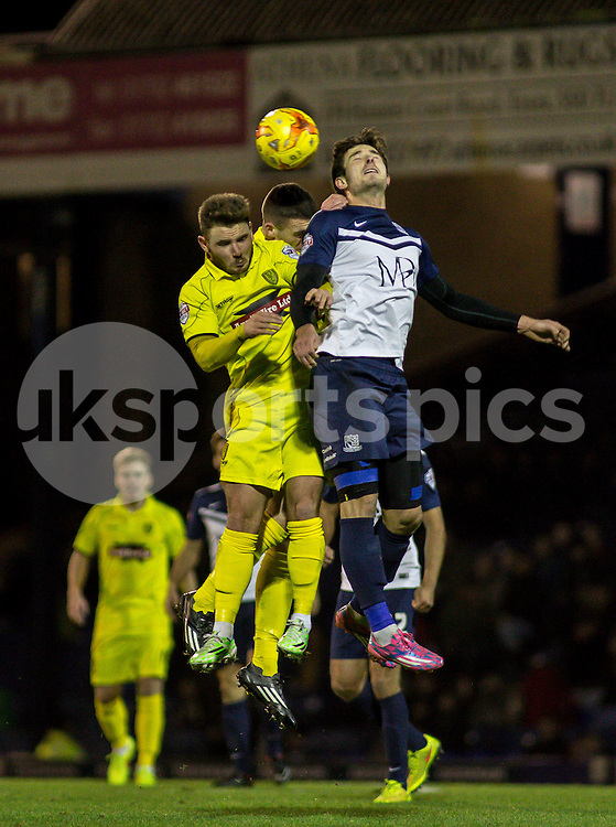 John White of Southend Utd clears during the Sky Bet League 2 match between Southend United and Burton Albion at Roots Hall, Southend, England on 19 December 2014. Photo by Liam McAvoy.
