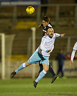 Dundee&rsquo;s Danny Williams beats Forfar's Martyn Fotheringham in the air - Forfar Athletic v Dundee, Martyn Fotheringham testimonial at Station Park, Forfar.Photo: David Young<br /> <br />  - &copy; David Young - www.davidyoungphoto.co.uk - email: davidyoungphoto@gmail.com