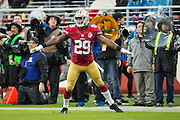 San Francisco 49ers strong safety Jaquiski Tartt (29) reacts to a missed pass by New England Patriots quarterback Tom Brady (12) at Levi's Stadium in Santa Clara, Calif., on November 20, 2016. (Stan Olszewski/Special to S.F. Examiner)
