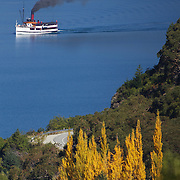 The TSS Earnslaw,  a 1912 Edwardian vintage twin screw steamer on the waters of Lake Wakatipu in, Queenstown, New Zealand. .It is one of the oldest tourist attractions in Central Otago, and the only remaining passenger-carrying coal-fired steamship in the southern hemisphere..The TSS Earnslaw heads along Lake Wakatipu from Queenstown  daily, running tourist trips to Walter Peak Station passing magnificent  peaks and contrasting shoreline foliage along the lakeside. Queenstown, New Zealand. 8th April 2011. Photo Tim Clayton