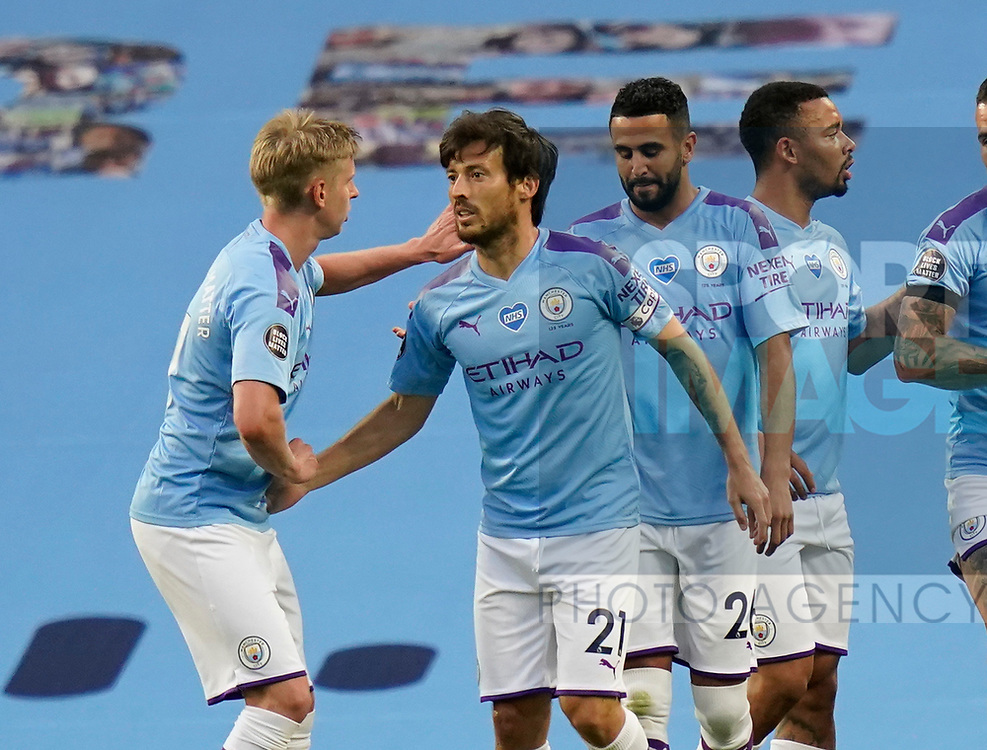 David Silva of Manchester City celebrates scoring their fourth goal during the Premier League match at the Etihad Stadium, Manchester. Picture date: 22nd February 2020. Picture credit should read: Andrew Yates/Sportimage
