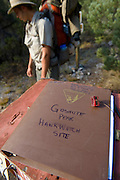 THe trail logbook at the wilderness study area boundary marker on the trail to the raptor migration area in the Goshute mountains of eastern nevada