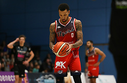 Gentry Thomas of Bristol Flyers takes a free throw - Photo mandatory by-line: Arron Gent/JMP - 07/12/2019 - BASKETBALL - Surrey Sports Park - Guildford, England - Surrey Scorchers v Bristol Flyers - British Basketball League Championship