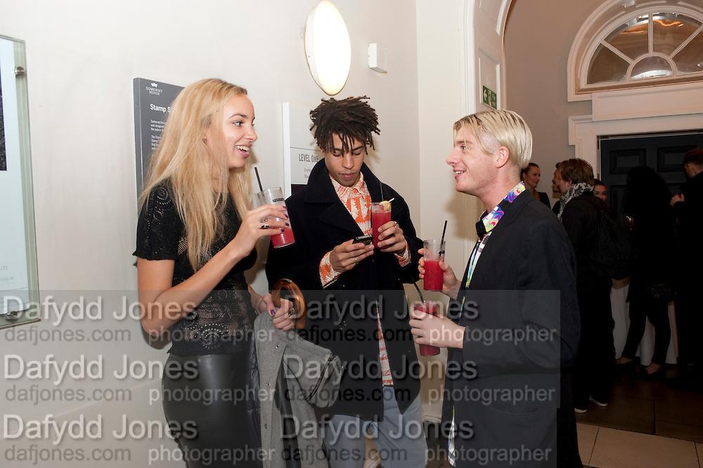 PHOEBE COLLINGS-JAMES;  SEAN JOHNSTON; DOMINIC JONES, Dazed & Confused 20th Anniversary Exhibition. Somerset House. London. 3 November 2011<br /> <br />  , -DO NOT ARCHIVE-© Copyright Photograph by Dafydd Jones. 248 Clapham Rd. London SW9 0PZ. Tel 0207 820 0771. www.dafjones.com.
