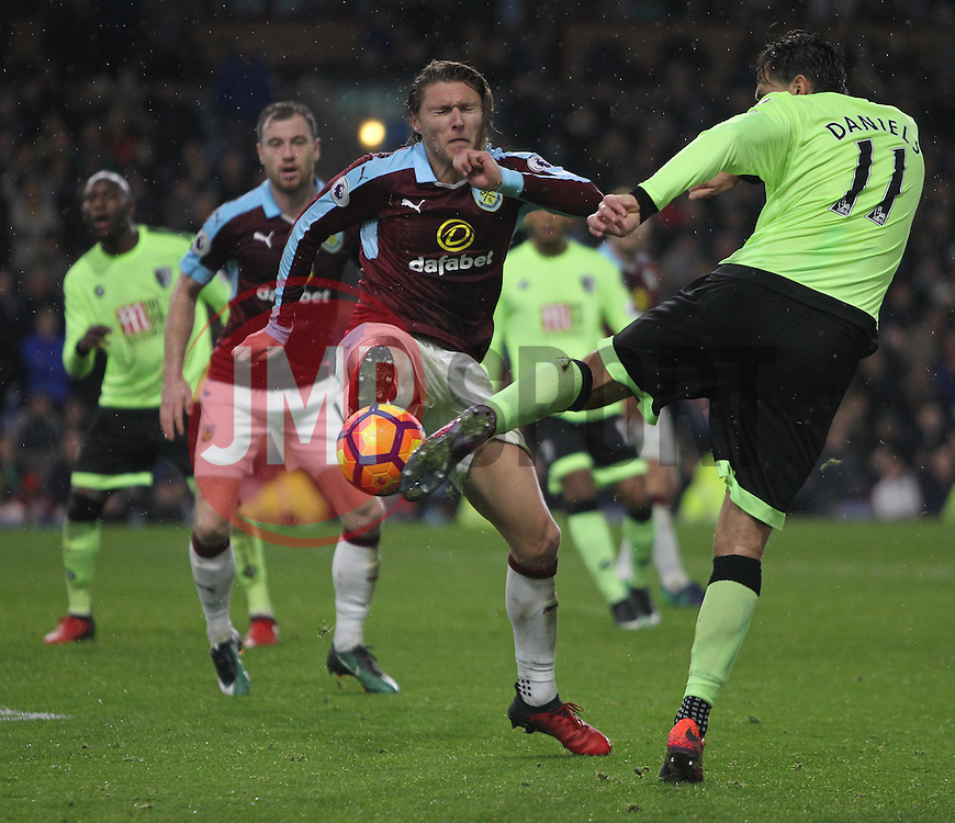 Charlie Daniels of Bournemouth (R) has a shot blocked by Jeff Hendrick of Burnley - Mandatory by-line: Jack Phillips/JMP - 10/12/2016 - FOOTBALL - Turf Moor - Burnley, England - Burnley v AFC Bournemouth - Premier League